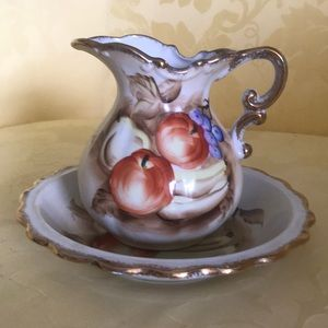 Vintage 1950's Hand Painted Pitcher & Washbowl Set